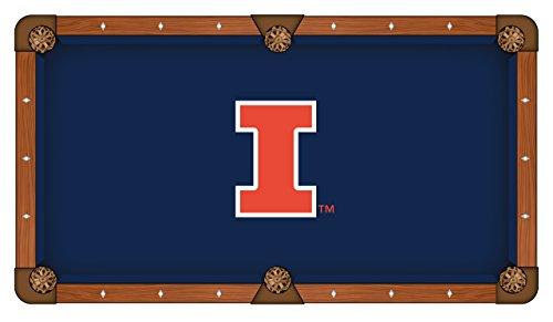 Holland Bar Stool Co. Illinois Fighting Illini HBS Navy with Orange Logo Billiard Pool Table Cloth (7')