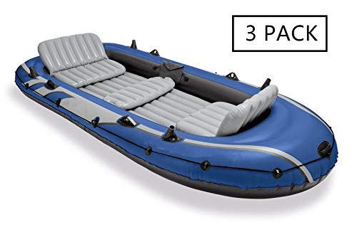 Inflatable Boat Set w/ 2 Oars, Air Pump & Bag (3 Pack) with Ebook