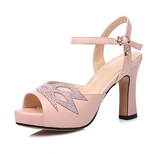 Peep Donne del amp;X QIN Le Pink Toe Sandali Talloni Blocco di B0ZpSwnWPq