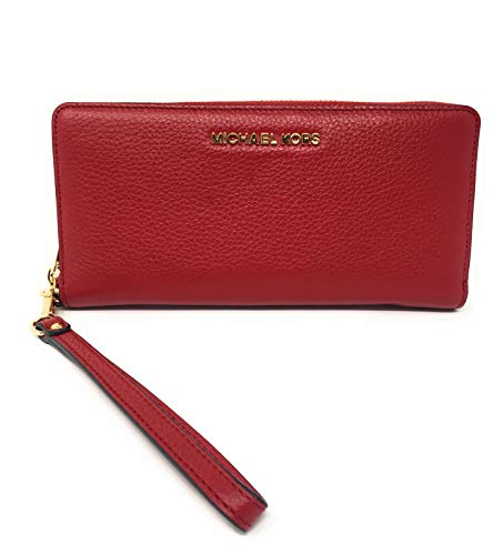 Michael Kors Jet Set Travel Continental Zip Around Leather Wallet Wristlet (Scarlet) ()