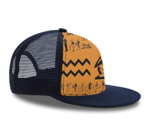 Hip Hop Cap,Ancient Egypt Clipart, Snapback Hat Unisex Trucker Hat Plaid Flat Bill Brim Adjustable Baseball Cap