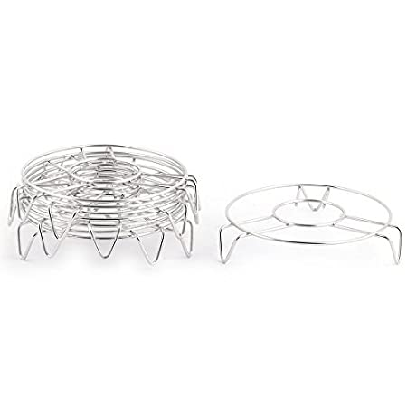 Amazon.com: eDealMax redondo de acero inoxidable cocina en forma de 3 patas del soporte Pan vapor del alimento 8pcs raíles de rack: Kitchen & Dining