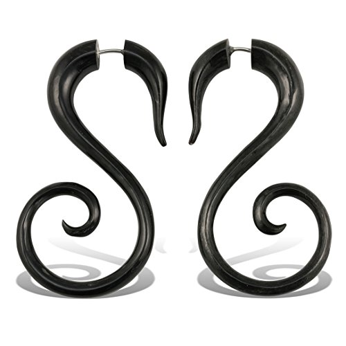 (Fake Gauge Earrings Hand Carved Horn Spiral Tail Fake Plugs Large)