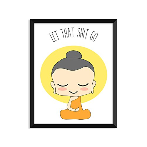 Let That Shit Go - Illustration, Yoga Poster, Zen, Buddha, Minimalist Poster, Home Decor, College Dorm Room Decorations, Wall Art