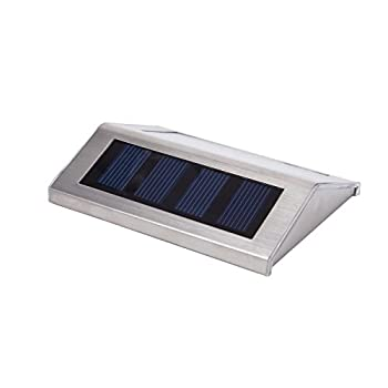 Lightess Solar Stair Lights Outdoor LED Deck Step Lighting 2 LEDs Stainless Steel for Paths Patio Pack of 6