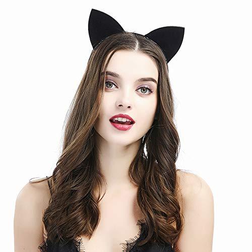 Headbands for Women Daily Wearing Girls,Cat Ears Party Fancy Dress Cat Woman Hairband Cosplay Black -