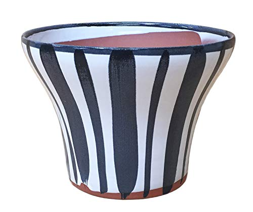(Briar Creek Planter: Stripes Pattern, Black. Medium Terracotta Plant Pot)