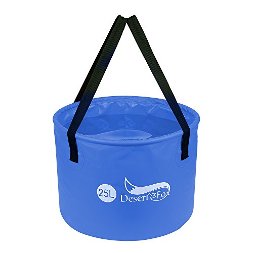 Premium Collapsible Bucket For Fishing, Car washing, Facing, Camping, Sandbeach entertainment,Traveling and Business trip,Compact Portable Folding Water Container - Lightweight & Durable (Blue, 25L)