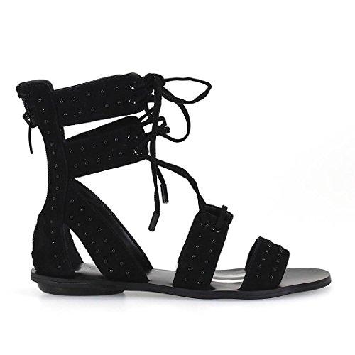 Kendall Kylie + Dames Kkfabia02 Zwart Lederen Sandalen