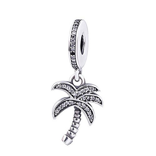 Romántico Amor Tropical Sparkling Palm Tree Charms Silver Clear CZ Dangling Beads for Pandora Bracelets
