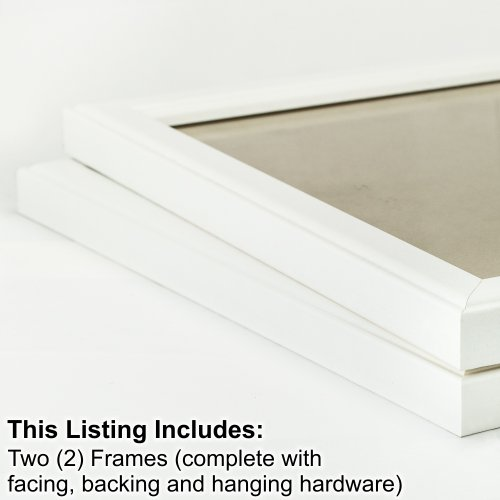 Craig Frames 434WH 8 by 12-Inch Picture Frame 2-Piece Set, Smooth Finish, 1-Inch Wide, White
