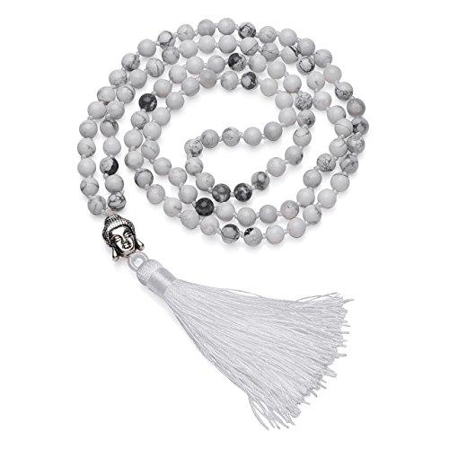 Top Plaza 108 Buddhist Prayer Mala Tibetan Beads Chakra Healing Crystals Yoga Medittion Multilayer Wrap Bracelet Necklace 6MM Gemstone W/Buddha Tassel Chram(White Turquoise) (Tibetan Beads Prayer Buddhist)