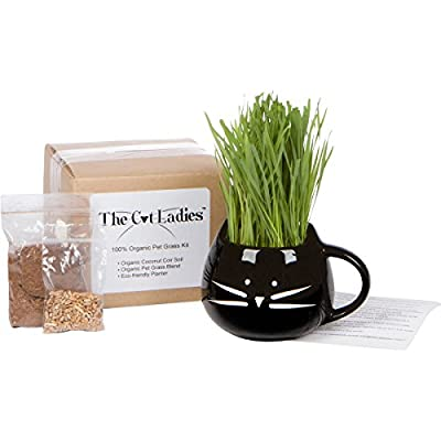 100% Organic pet grass kit/cat grass kit with organic seed mix, organic soil and cat planter. Great gift for pet lovers. Natural hairball control and remedy for cats. Natural digestive aid.