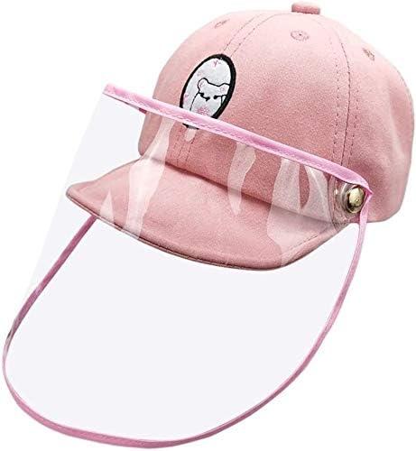 のフェイスシールド 子供のための取り外し可能な透明バイザー保護帽子と防曇野球帽子防滴保護キャップアンチ唾抗唾液顔面保護 保護カバー (Color : Rosa)