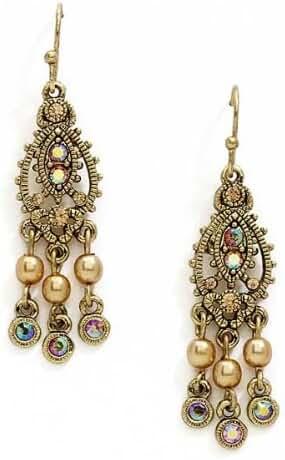 Gold-Tone Light Brown AB Chandelier Earrings