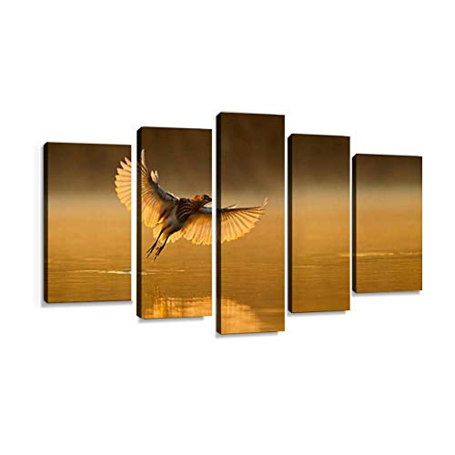 XEPPO Indian Pond Heron Prints Canvas Wall Art Abstract Landscape Photography Paintings for Modern Home Decor 5Pcs Modern Stretched and Framed