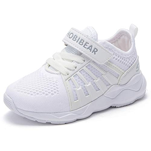 HOBIBEAR Kids Uniform School Sneakers Breathbale Lightweight Knit Athletic Running Cheer Shoes White ()