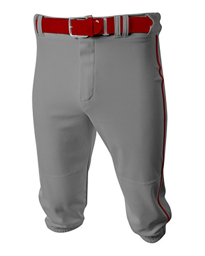 (A4 Sportswear Baseball/Softball Knee High Pants Grey/Cardinal Side Piping Youth Large Old School Knickers)