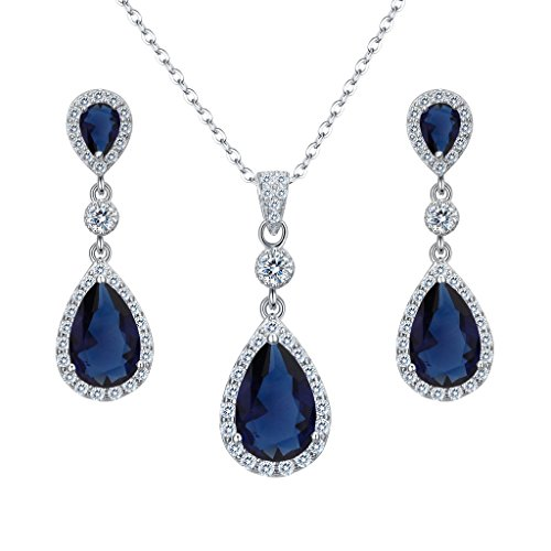 EleQueen 925 Sterling Silver Full Cubic Zirconia Teardrop Bridal Pendant Necklace Dangle Earrings Set Sapphire Color ()