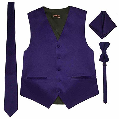 Spencer J's Men's Formal Tuxedo Suit Vest Tie Bowtie and Pocket Square 4 Piece Set Variety of Colors (M (Coat Size 38-41), Lapis (Royal Purple)