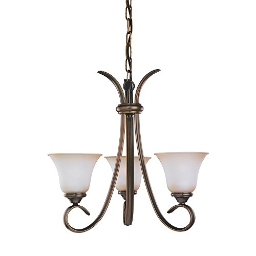 (Sea Gull Lighting 31360-829 Three-Light Rialto Chandelier with Ginger Glass Shades, Russet Bronze Finish)