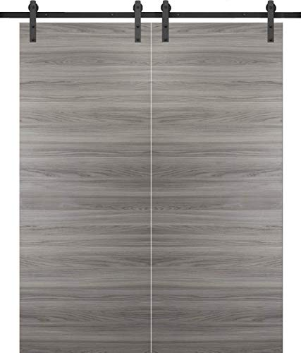 Sliding Double Barn Doors 60 x 84 | Planum 0010 Ginger Ash | 13FT Rails Hangers Stops Hardware Set | Modern Solid Panel Interior Door