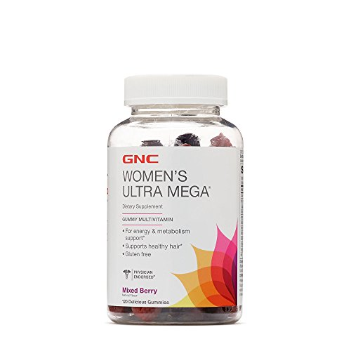GNC Womens Ultra Mega Gummy Multivitamin for Energy, Hair Metabolism, Mixed Berry – 120 Gummies