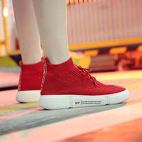 da ZHZNVX Rosso elastico Scarpe Punta Tacco Autunno tonda Comfort Nero piatto donna Tessuto Maglia Red Sneakers ww65qrS