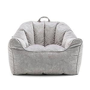 Big Joe Aloha Bag Chair for Kids Premium Bean Filling, Ash