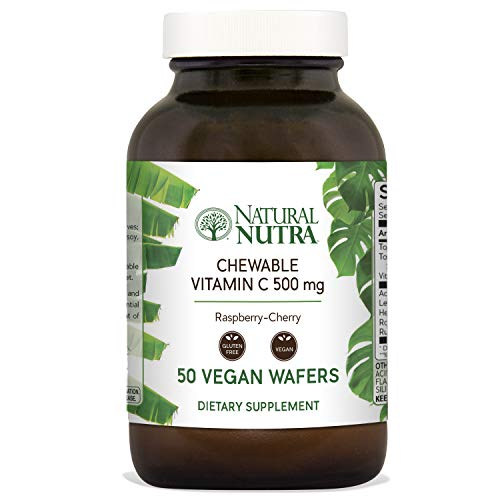 (Natural Nutra Chewable Vitamin C Supplement 500 mg with Acerola, Bioflavonoids and Rosehips for Kids and Adults, High Potency, Delicious Raspberry and Cherry Flavor, 50 Vegan Wafers)