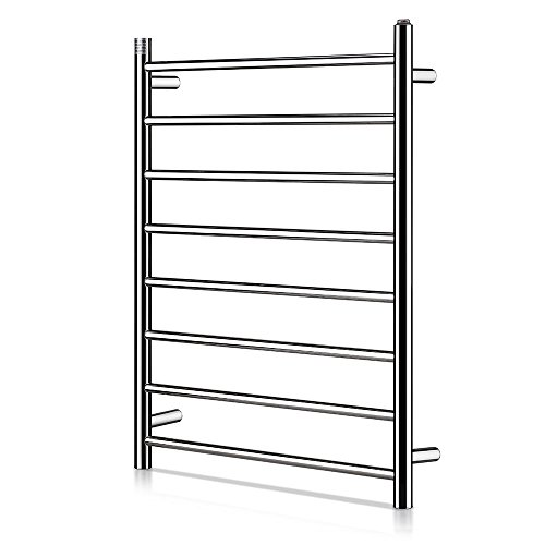 Homeleader Towel Warmer and Drying Rack, L34-003 Heated Stainless Steel Towel Rack, Wall-mounted, 8 Bars & chrome (Stainless Steel Heated Towel)