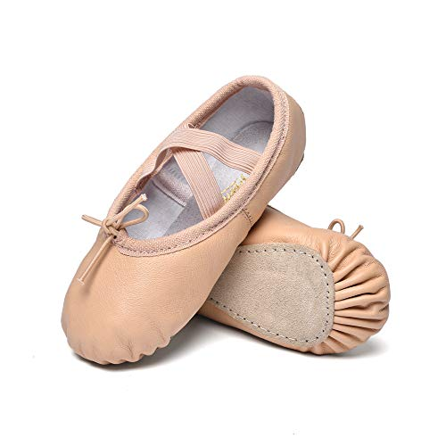 (STELLE Girls Premium Leather Ballet Shoes Slippers for Kids Toddler (10MT, Nude))