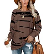 XCHQRTI Womens Crewneck Long Sleeve Sweatshirts Striped Casual Tops Printed Loose Pullover Shirts