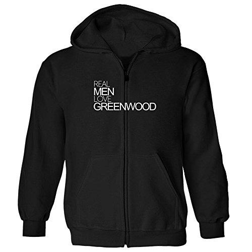 Idakoos - Real men love Greenwood - US Cities - Zip Hoodie (Zip City Greenwood)