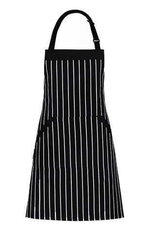 [Mago Adjustable Extra Long Ties with Pockets Unisex Baking BBQ Bib Cooking Kitchen Apron, Black White Pinstripe Machine Washable] (Tie Apron)