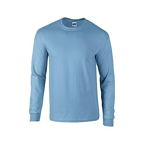 Gildan Mens Plain Crew Neck Ultra Cotton Long Sleeve T-Shirt (L) (Carolina - Carolina Usa Long Sleeve