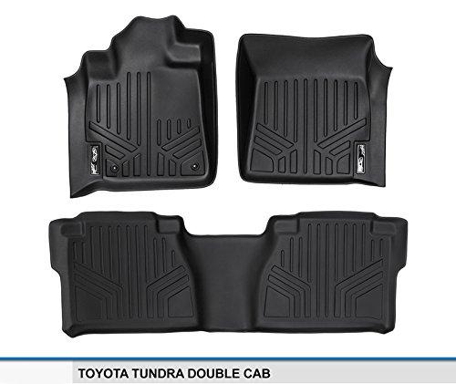 SMARTLINER Floor Mats 2 Row Liner Set Black for 2007-2011 Toyota Tundra Double Cab Maxliner USA A0022//B0041