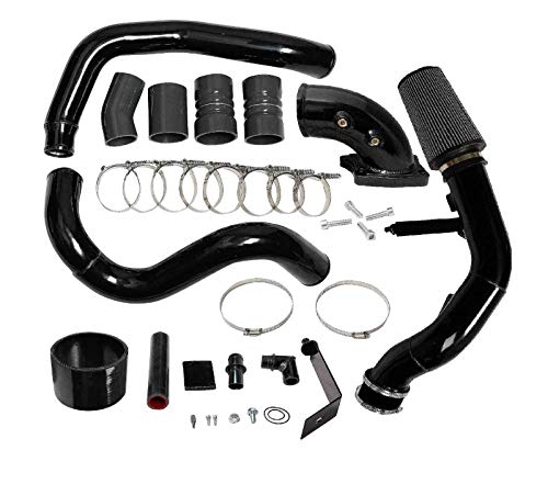 Intercooler Pipe Boot Kit CAC Tube & Cold Air Intake kit + Hi Flow 90 Elbow for 2003-2007 F250 F350 F450 F550 6.0L 6.0 V8 Turbo Diesel - Kit Hi Intake Flow