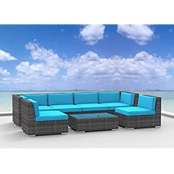 Urban Furnishing.net - OAHU 7pc Modern Outdoor Backyard Wicker Rattan Patio Furniture Sofa Sectional  sc 1 st  Amazon.com : rattan sectional sofa - Sectionals, Sofas & Couches