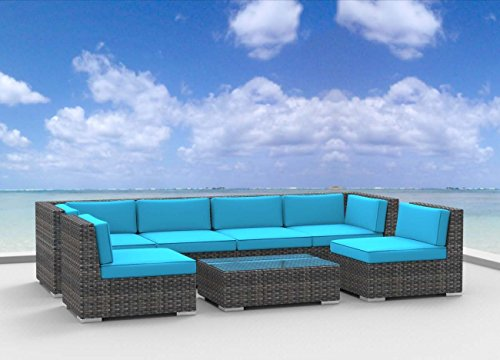 Urban Furnishing.net - OAHU 7pc Modern Outdoor Backyard Wicker Rattan Patio Furniture Sofa Sectional Couch Set - Sea Blue