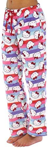 Hello Kitty Women's Fleece Pajama Pants (Stripe, (Hello Kitty Gifts For Adults)