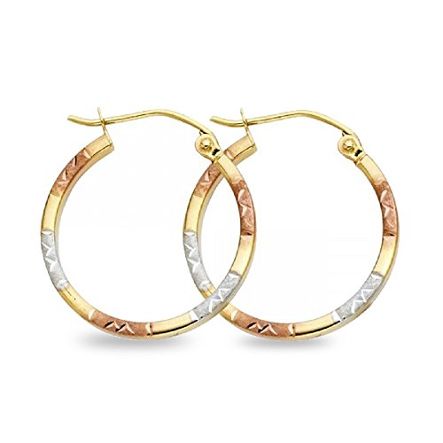 Square Tube Hoops 14k Yellow White Rose Gold Round Earrings Diamond Cut Satin Tri Color 20 x 1.5 mm