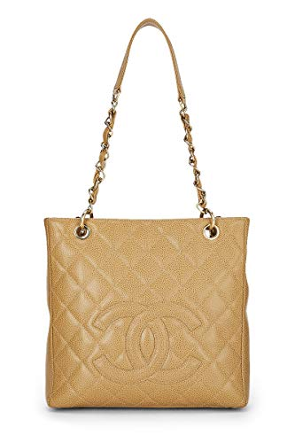 CHANEL Beige Quilted Caviar Petite Shopping Tote (PST) (Pre-Owned)