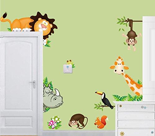 Bombom Tree Lovely Giraffe Monkey Rhinoceros Lion Cute Animal Zoo Wall Decals Stickers DIY Removable Stick Baby Boys Girls Kids Room Nursery Wall Mural Decor