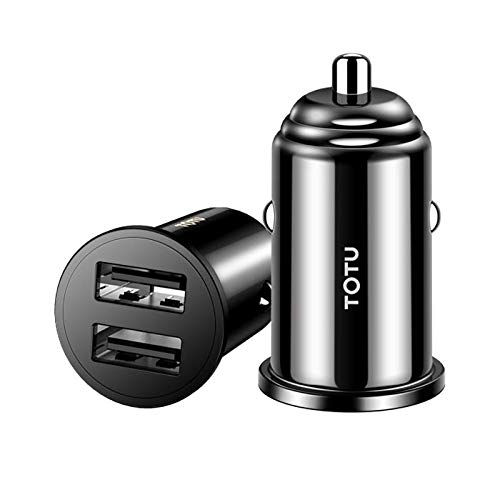 Car Charger, TOTU Mini 3.4A Quick Charge Car Charger Adapter Dual USB Port Fast Charge Mini Flush Fit Compatible iPhone Xs Max/X/7/6s, iPad Air 2/Mini 3, Samsung Note 9/Note 8/Galaxy S9/S8 (Black)