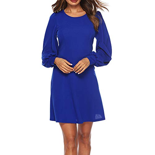 HYIRI✈Elegant Casual Long Sleeve Dress,Women's Above Knee Mini Dress Loose Party Dress Sundress