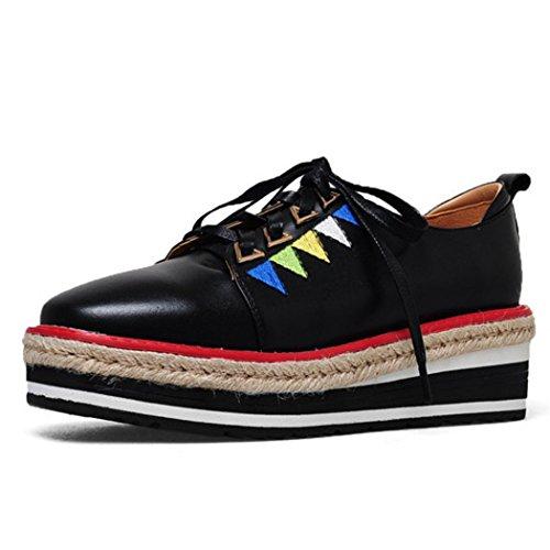 Mollete Bordados Casuales GAOLIXIA Negro Holgazanes con de Inferior de Paja Las Suela Zapatos Zapatos Cordones de Casuales Mujeres Negro Zapatos Rosa Gruesa Casuales wPXrqXFR5