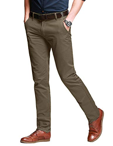 Match Men's Slim Fit Tapered Stretchy Casual Pants (36W x 31L, 8050 Light Khaki#10)