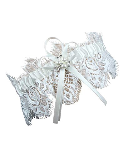 Debbie's Bridal One Piece Garter for Wedding and Prom Bridal Garter Ivory]()
