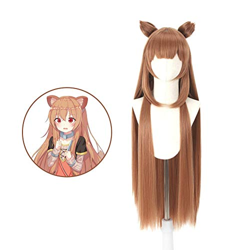 Raleighsee The Rising of The Shield Hero Anime Raphtalia Cosplay Wig Raccoon Brown 100 cm Long Girls Wig + Small Ear 2+ Hair Extension Piece 2 Anime Fans Gift